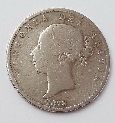 Dated : 1878 - Silver Coin - Half Crown - Queen Victoria - Great Britain UK Rare
