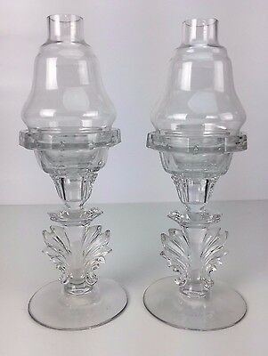 "11.5"" Pair of American Antique Press Molded Candle Holders & Shades w/ VALUATION"