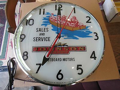 Vintage Johnson Sea-Horse Outboard Motors Pam Clock Mint In Box New Old Stock