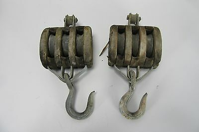 Antique Wood Pulley Large 3 Rollers Block & Tackle Iron Hook Steampunk Set of 2