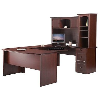 """Broadstreet Contoured U-Shaped Desk With 92""""L Connecting Bridge/Shell and Hutch"""