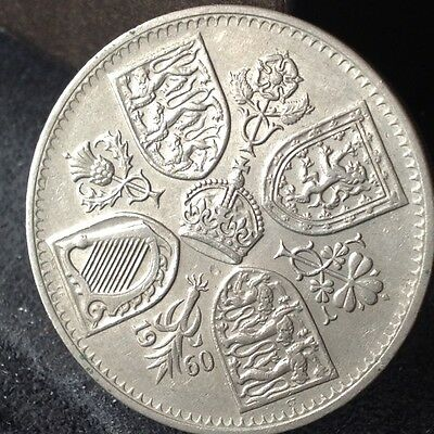 1960 Elizabeth crown, five shilling, 5/- coin. Free uk p&p