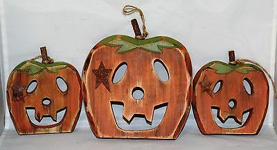"""Carved Wood Pumpkins Group of 3 Wood w/Twine for Hanging 6 3/4"""" & 5"""" Tall EUC"""