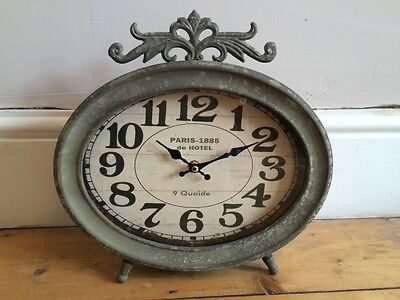 Green Grey 'Paris' Freestanding Mantle Clock. Rustic Shabby Chic Vintage French
