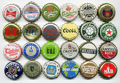 24 piece bottle cap collection world beer brands ALL DIFFERENT