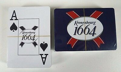 2 New Packs Kronenbourg 1664 Playing Cards Large Index Sealed With Plastic Boxes
