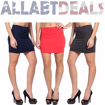 AAD Solid Bodycon Straight Stretchable Pencil Fitted Mini Skirt - Juniors