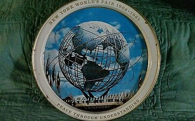 1964-1965 New York Worlds Fair Tin Metal Plate Platter Tray Collectible GC
