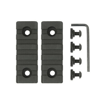 "2 PCS M-Lok 5 Slot Picatinny/Weaver Rail Handguard Section Aluminum 2.5"" - Black"