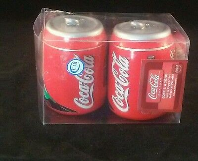 Coca- Cola Ceramic Salt & Peper Shakers Can Style Collectable Kitchen Decor