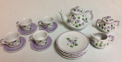 Andrea by Sadek 17 Piece Miniature Tea Set 13861 purple flowers