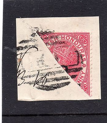 British Honduras 1888-91 bisected 2c on 1d carmine on piece. SG 37a