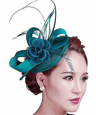 Fascigirl Sinamay Fascinator Hat Feather Party Pillbox Hat Flower Derby Hat for