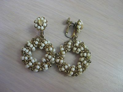 Estate Costume Miriam Haskell White Bead Dangle Circle Gold Tone Clip Earrings