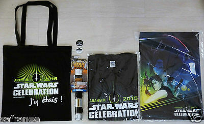 lot STAR WARS Celebration Anaheim 2015 sac+tshirt+sabre laser+poster+badge  rare
