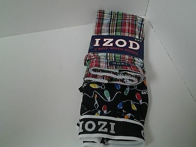 IZOD 2 Pair Boys Woven Boxers Size XL 16 18 Red Plaid & Christmas Lights