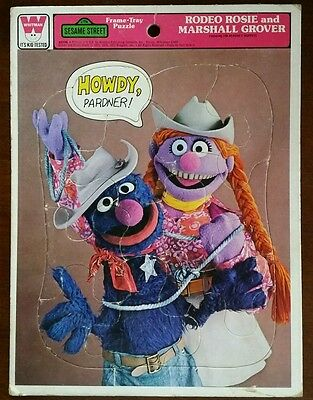 Sesame Street Muppets 1977 Rodeo Rosie and Marshall Grover Frame-Tray Kid Puzzle