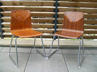 Paire Chaise Pagwood Pagholz Germany Vintage Design 70 Dlg Flototto