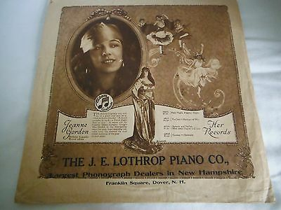 1920s COLUMBIA JEANNE GORDON J.E. LOTHROP PIANO CO. Record Dust Cover Sleeve