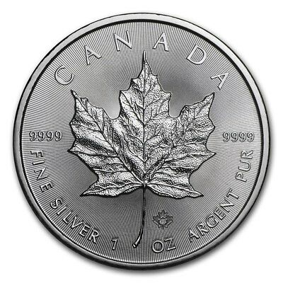 5 dollars 2017 maple leaf Canada once argent .9999 ounce oz silver