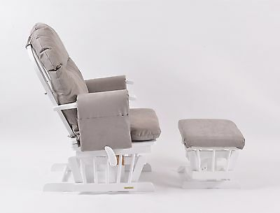 Habebe Recliner Rocking Glider Chair & Stool with Grey WASHABLE COVERS & BRAKE