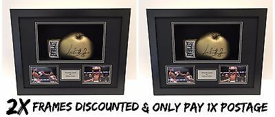 2x FRAME DISPLAY CASES FOR SIGNED BOXING GLOVE WITH 6x4 PHOTO HOLES & PLAQUE