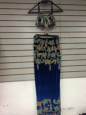 Belly Dance Costume Classic Egyptian stretch velour with beads, bra B, C, D