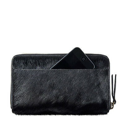 STATUS ANXIETY Delilah Wallet - Black Fur Leather Purse Clutch RRP $109 BNWT