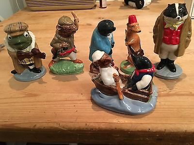 WADE 'WIND IN THE WILLOWS' Porcelain Figures. Mole, Ratty, Badger, Weasel, Toad
