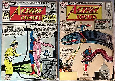 Action Comics #290 (1962) + #303 (1963) Early Superman 50+ Yrs Old Vg For Age