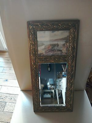 Vintage Repousse Brassed Framed Wall Mirror