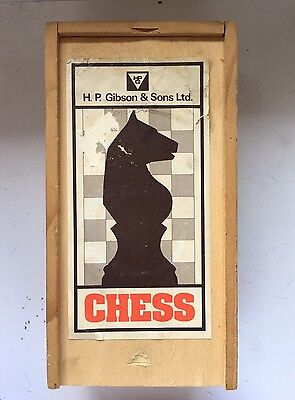 Vintage H.p. Gibson & Son Ltd Wooden Chess Set In Box