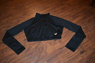 A11- Varsity Black Long Sleeve Cropped Top Size Large