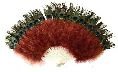 Zucker Feather Marabou Fan with Peacock Plastic Staves, Copper