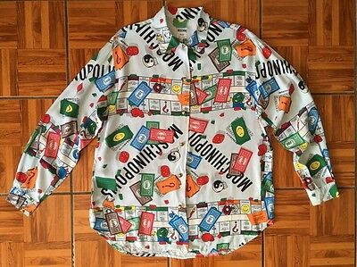 Vtg 80s 90s MOSCHINO Monopoly Moschinopoly JEANs Button Shirt Print Sz L XL