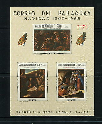 Paraguay 1968  #1078A  art paintings Madonna   IMPERF sheet   MNH  G017