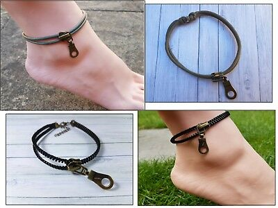 Mens Ladies Zip Anklet Waxed Cotton cord Adjustable Anklet Summer Beach Party