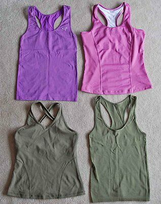 Lot of 4 Fitness TANK TOPS Exercise Sport Pink Purple Olive Womens Medium/Small