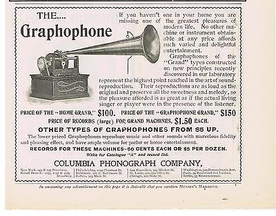 1900 Columbia Phonograph Graphophone Home Grand Print Ad