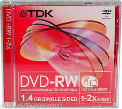 TDK SCRATCHPROOF Mini DVD-RW Blank Discs Anti-scratch 1.4GB 2x Speed 5 Pack