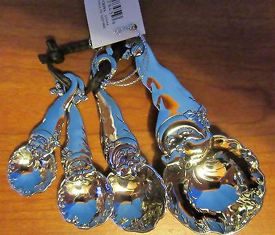 Santa Claus Measuring Spoons Set of 4 NWT Studio 101 Silver Tone Ganz