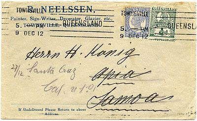 Samoa,German P.O.Incoming Mail,1912 Cover From Queensland w/APIA cds,Fwd. to USA