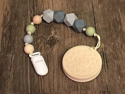 Silicone Oreo Cookie Teether Pacifier Clip Beads Sensory Nursing Baby Mom Gift