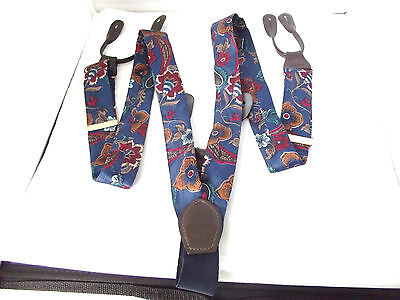 Cas Germany Floral Blue Adjustable Suspenders Braces Leather Buttoners