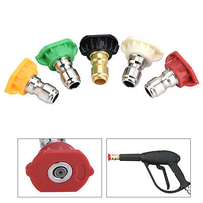5pcs High Pressure Washer Spray Nozzles Set Variety Degrees for Quick Connect