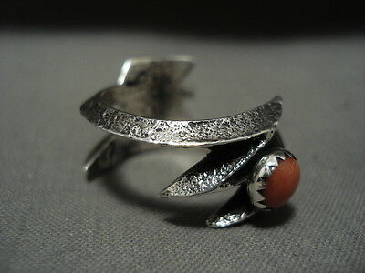 Important Aaron Anderson 'coral Silver Arrow' Sterling Navajo Ring