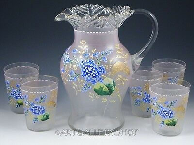 Antique Victorian PITCHER HAND PAINTED ENAMEL FLOWERS 5 TUMBLERS Lemonade Set