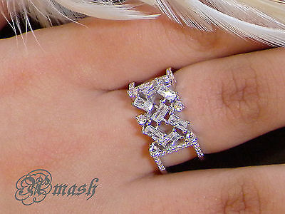 925 Sterling Silver Baguette wedding ring,engagement Band,wide cuff ring,size8/Q