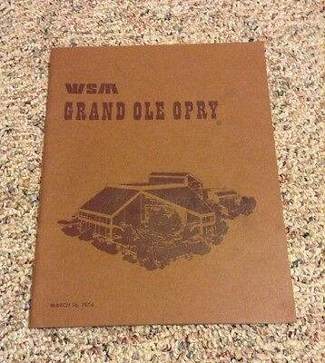 Grand Ole Opry WSM Book March,16 1974 Great Condition! Curtain Swatch Rare!