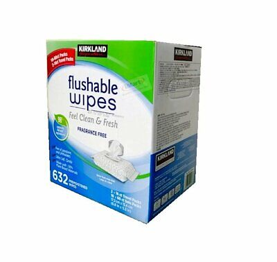 600 Kids Family Flushable Wipes Bulk Wet Moist Vitamin E+Aloe Towelettes New